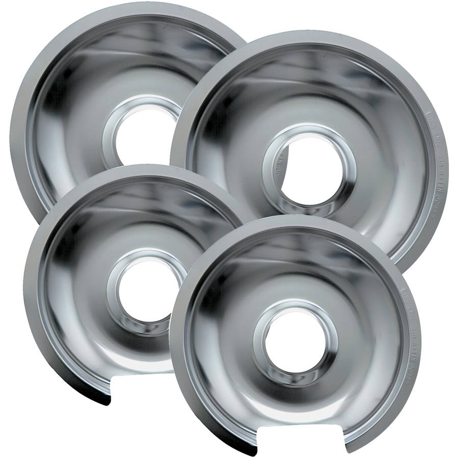 Range Kleen Drip Pans, Style D, Chrome, Two 2-Piece Sets