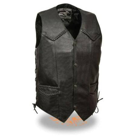 Classic Cowhide Vest - Milwaukee Event Mens Classic Side Lace Biker Vest w/Braiding Black