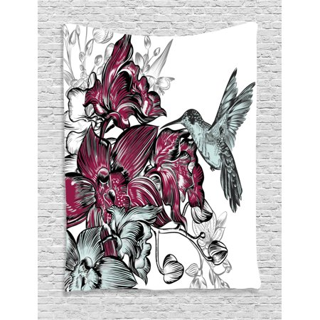 Hummingbirds Decorations Wall Hanging Tapestry  Orchid Flowers Bouquet And A Hummingbird Decorative Artistic Design Artwork  Bedroom Living Room Dorm Accessories  By Ambesonne
