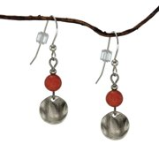 Jewelry by Dawn  Coral Marble and Small Hammered Disk Drop Earrings