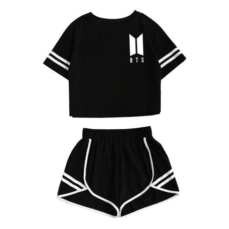 TURNTABLE LAB   BTS Love Yourself Shorts and Tee Set Jimin Jungkook V T-Shirt Suit