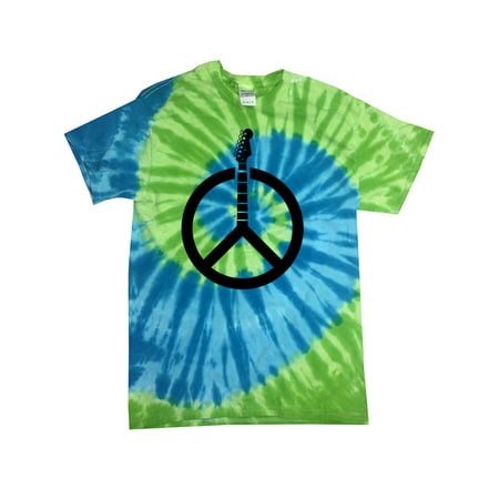 Guitar Peace Sign Tie Dye Tee Shirt - St. Lucia, Small Kids (6-8) Peace Sign Tie Dye T-shirt