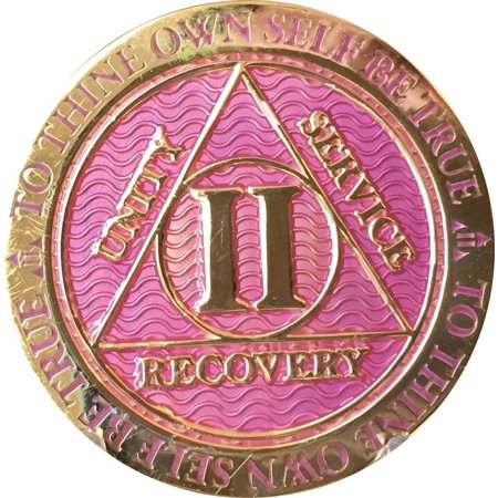 2 Year AA Medallion Reflex Lavender Pink Gold Plated Sobriety Chip