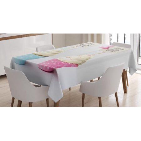 Gender Reveal Decorations Tablecloth, Boy and Girl Cupcakes Yummy Chocolate Celebration, Rectangular Table Cover for Dining Room Kitchen, 60 X 84 Inches, Light Blue and Pink Cream, by Ambesonne](Pink And Blue Table Decorations)