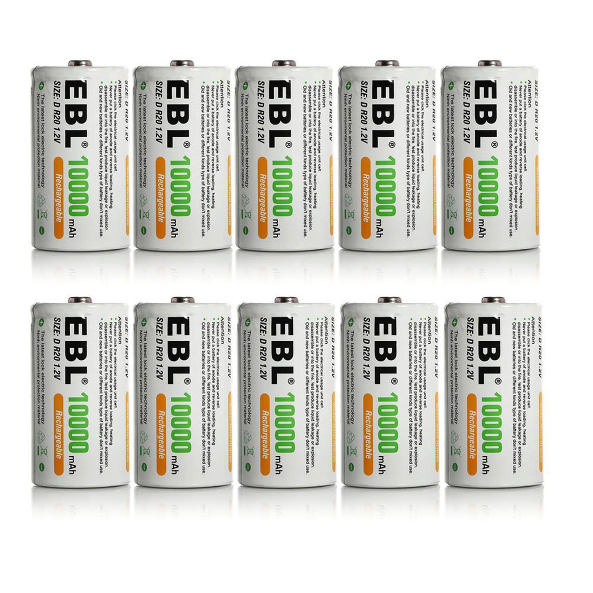 EBL 10-Pack 1.2v Size D Battery 10000mAh Ni-MH Rechargeable Batteries