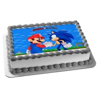 Super Mario Sonic The Hedgehog Shaking Hands Edible Cake Topper Image