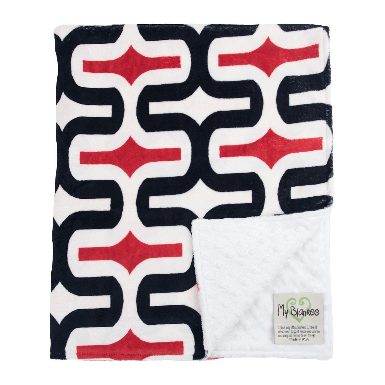 "My Blankee Dolce Vita Milano Minky Black Scarlet w/ Minky Dot White Baby Blanket, 29"" x 35"""