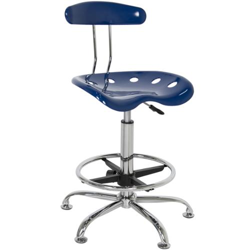 ABS Tractor Seat Adjustable Bar Stools Swivel Chrome Drafting Chair Modern Blue