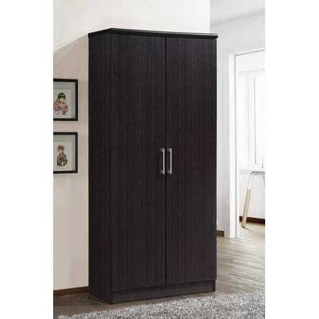 Hodedah 2-Door Wardrobe with 4-Shelves, Multiple (Black Juvenile Wardrobe)
