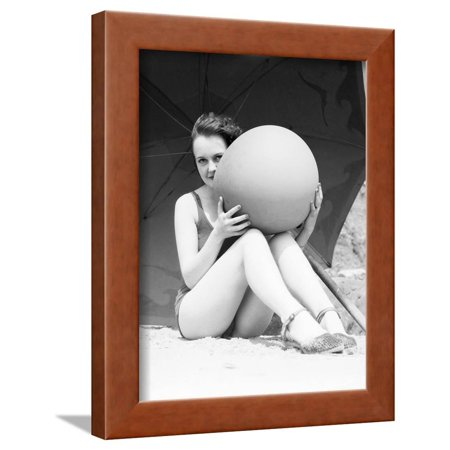Black And White Beach Ball (Woman in Bathing Suit Holding Beach Ball Framed Print Wall Art By Philip)