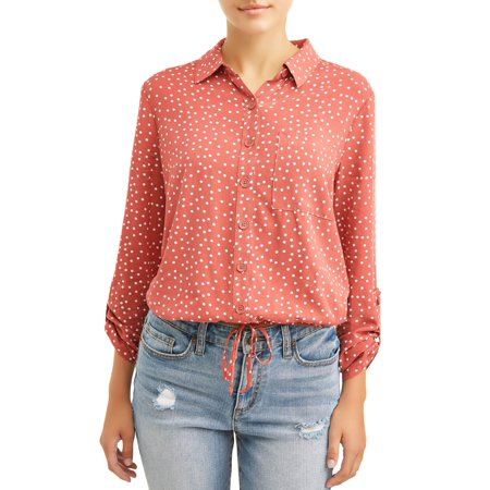 Floral Print Empire Tie Top - No Boundaries Juniors' Printed Tie Front Woven Shirt