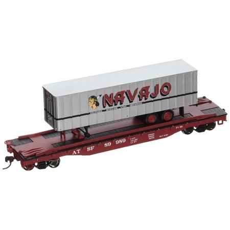 Bachmann Industries 52' with 35' Piggyback Trailer Santa Fe Navajo Freight Lines Flat Car, 6