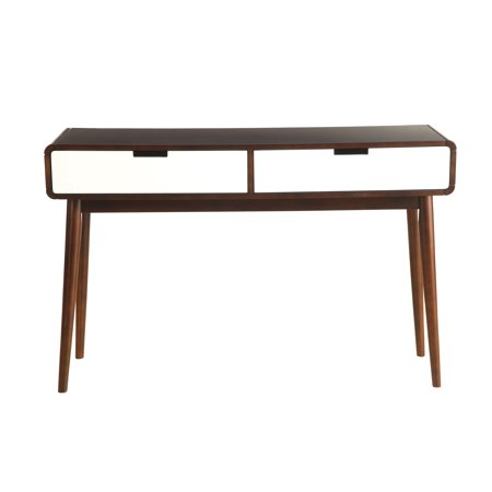 Walnut Veneer Mdf - Sofa Table in Walnut and White - MDF, Wood Veneer, Solid W Walnut and White
