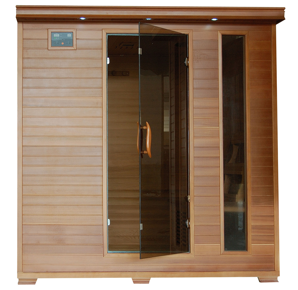HeatWave Great Bear SA1323 6 Person Cedar Corner Infrared Sauna with 10 Carbon Heaters... by