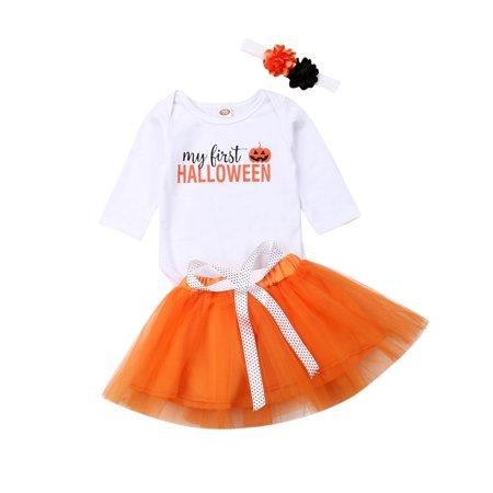 Amazing Halloween Outfits (My First Halloween Newborn Infant Baby Girl Dress Clothes Long Sleeve Pumpkin Romper Tutu Short Skirt Dress Outfits Clothes)