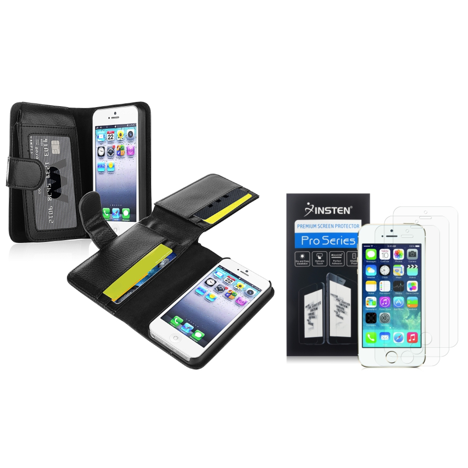 Insten Wallet Leather w/Card Holder Black Skin Case+2x Anti-Glare Guard For iPhone 5S 5
