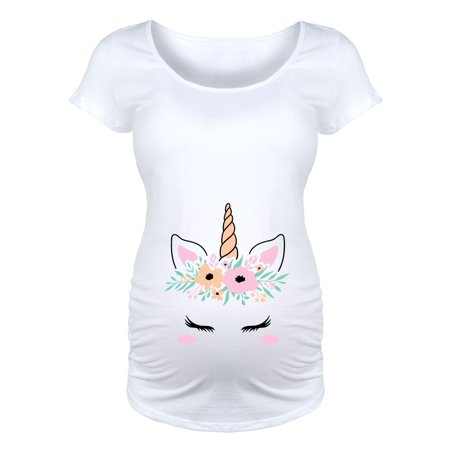 Unicorn Face Belly  - Maternity Scoop Neck Tee - Pregnant Halloween Painted Bellies