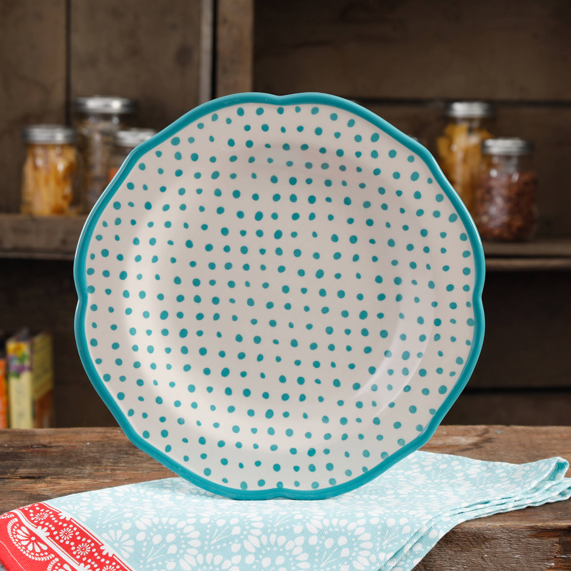 "The Pioneer Woman Retro Dot 10.5"" Teal Dinner Plate by The Pioneer Woman"
