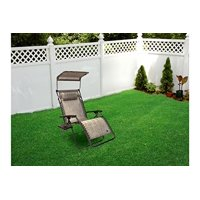 Patio Bliss GRAVITY FREE Chair with Sun-Shade and Cup Tray - Platinum