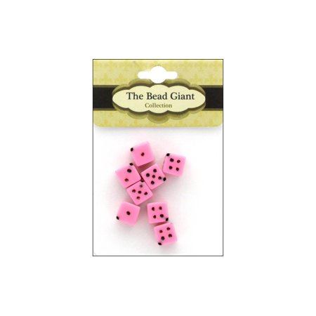 The Bead Giant Bead Dice OP 8mm 8pc Pink (Dice Beads)