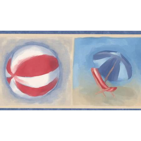 Blue White Red Beach Flip-flops Ball Chair Umbrella Kids Bucket and Shovel Beige Wallpaper Border Retro Design, Roll 15