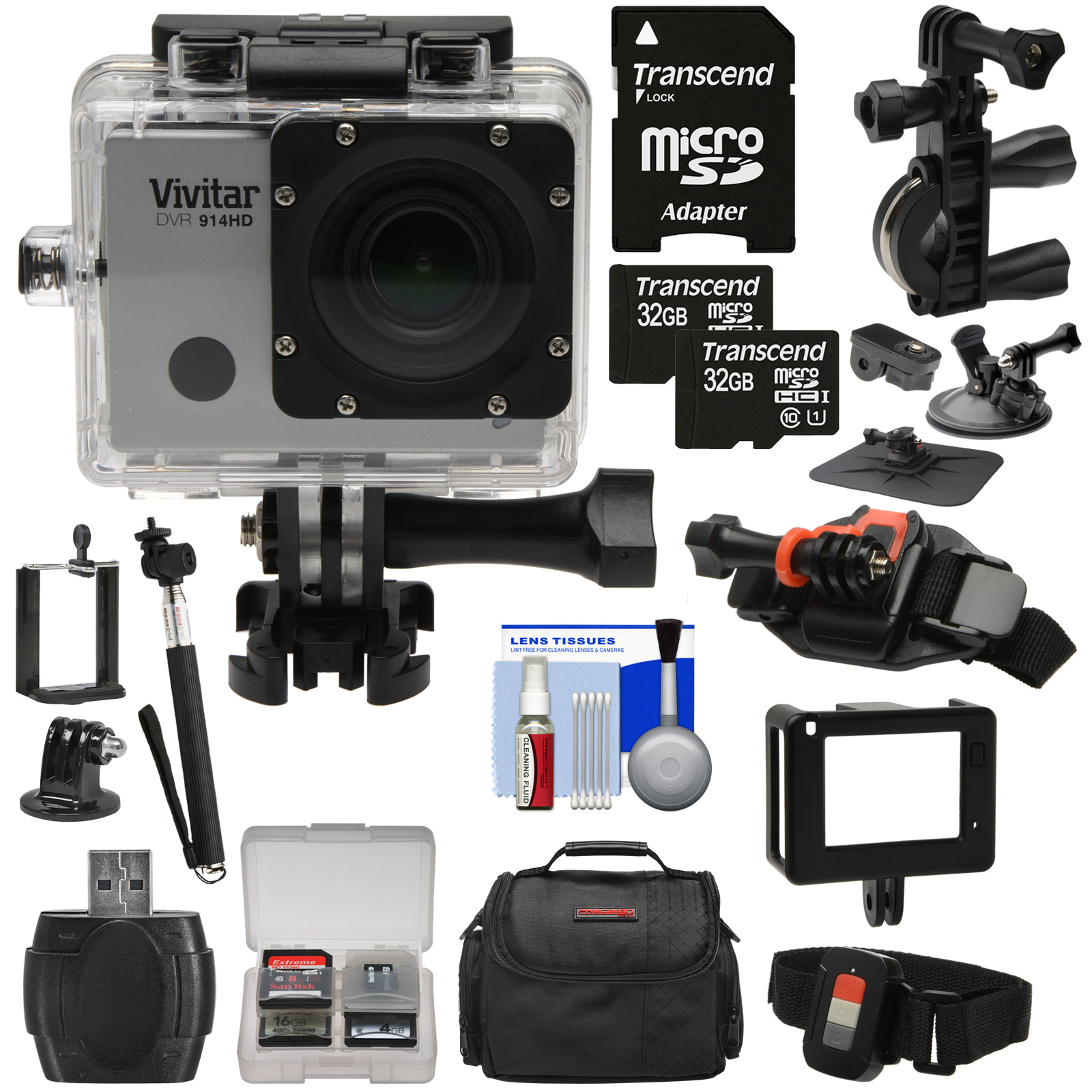 Vivitar DVR914HD 1440p HD Wi-Fi Waterproof Action Video Camera Camcorder (Silver) + Remote, Helmet, Bike, Suction Cup + Dashboard Mounts + 64GB + Case Kit