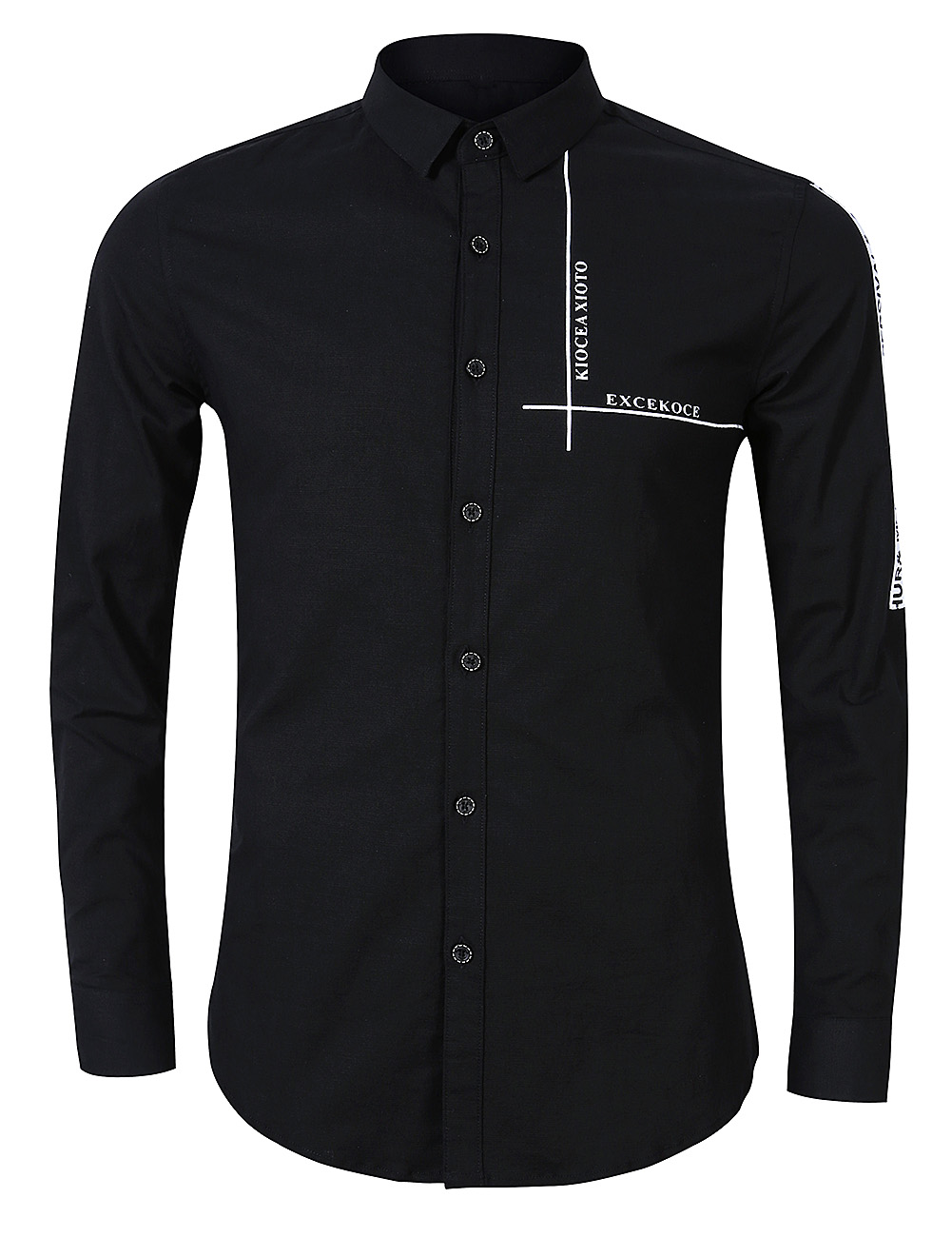 a4155f2b8146 Redcolourful - Yong Horse Men s Causal Fashion Print Long Sleeve Shirt  White Color black Size M - Walmart.com