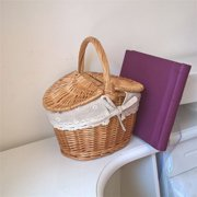 Handmade Woven Rattan Basket With Handle And Double Lids Camping Picnic Food Storage Container Organizer