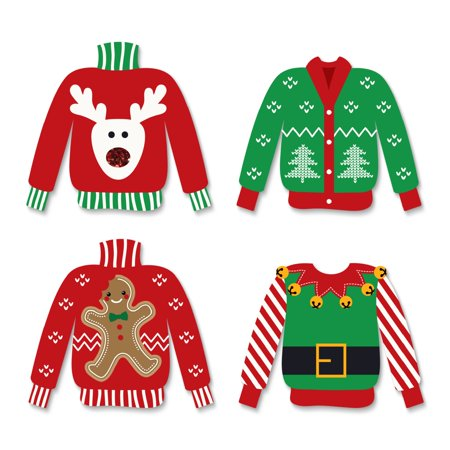 Ugly Sweater - DIY Shaped Holiday & Christmas Cut-Outs - 24 Count