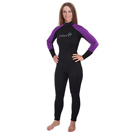 Ivation Women's 2.5mm Premium Neoprene Full Body Wetsuit - Excellent for Multisport Use in and Out of Water (Womens Diving Hood)