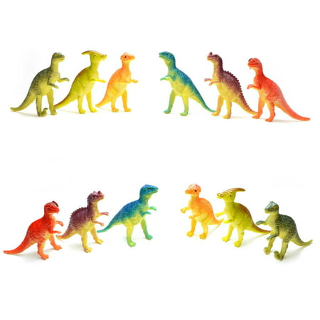 12pcs Dinosaur Figures Assorted Colour Party Bag Fillers Goodie Loot Pinata Gift (Pinata Gifts)