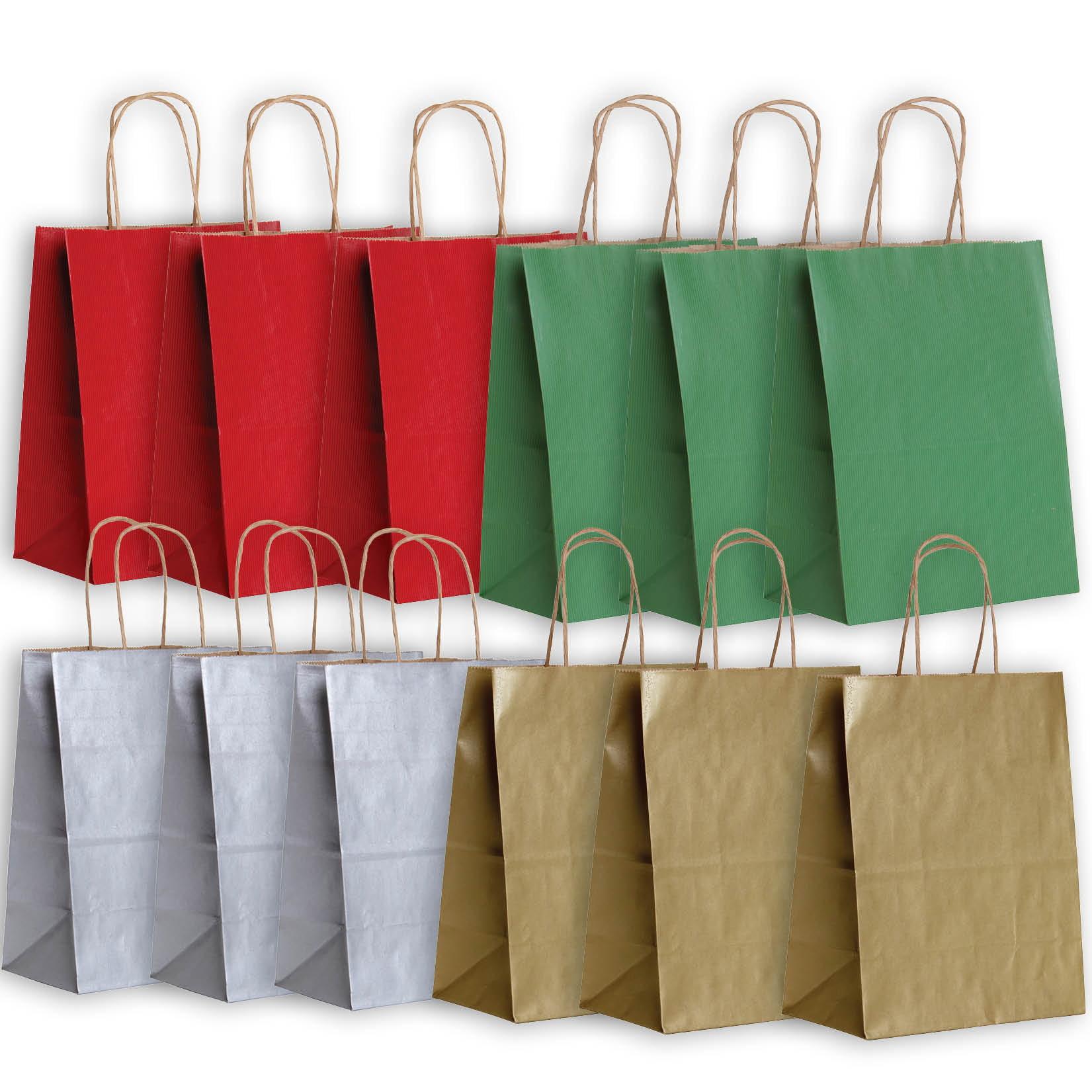 Jillson & Roberts Eco-Friendly Kraft Medium Gift Bag Assortment, Christmas (12 Bags)