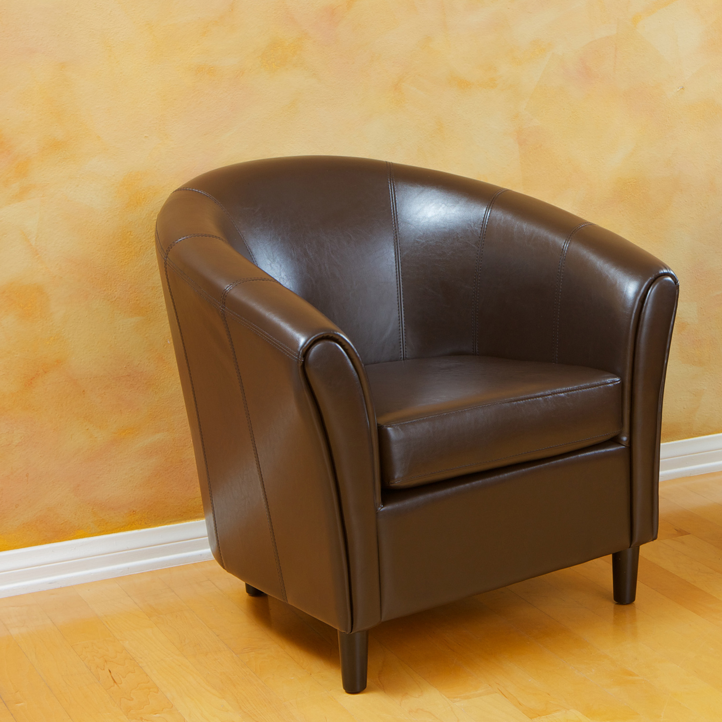 Noble House Bronson Bonded Leather Espresso Brown Accent Chair