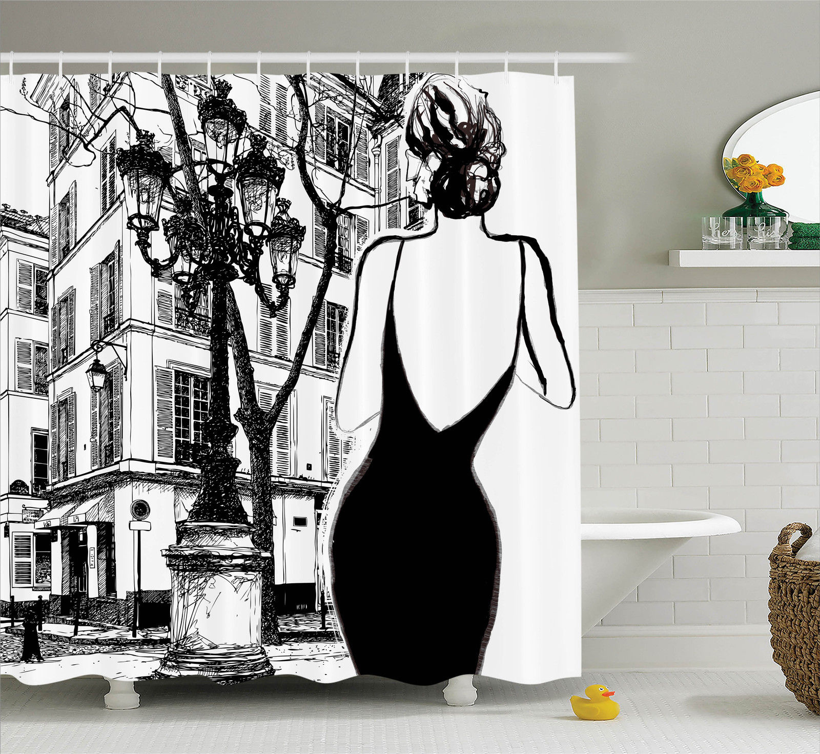 Paris City Decor Shower Curtain Set, Young Elegant Woman In A Black Dress In Paris Street Old Building Facade Cityscape, Bathroom Accessories, 69W X 70L Inches, By Ambesonne