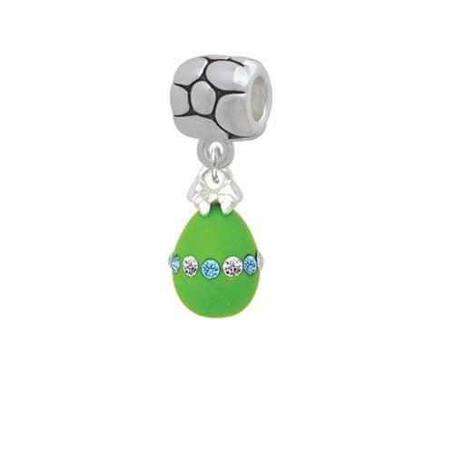 Lime Green Easter Egg with Color Crystal Band - Pebble Charm Bead