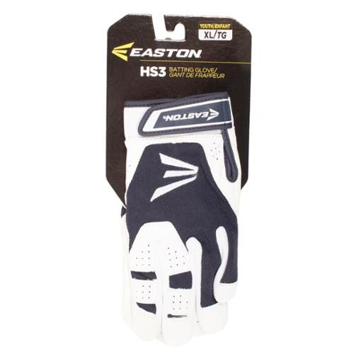 Easton A121850PRYXL HS3 Youth Batting Gloves, White/Navy XL