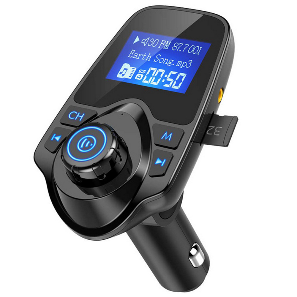 Wireless Bluetooth FM Transmitter Radio Adapter Receiver for Car 1.44 inch Screen Display Car Kit Mp3 Player USB Ports AUX TF Card Hands Free Calls