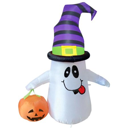 Comin DJ-WS-63038 4 ft. Smiling Ghost with Pumpkin Light Up Halloween Inflatable - Halloween Pumpkins For Sale Sydney