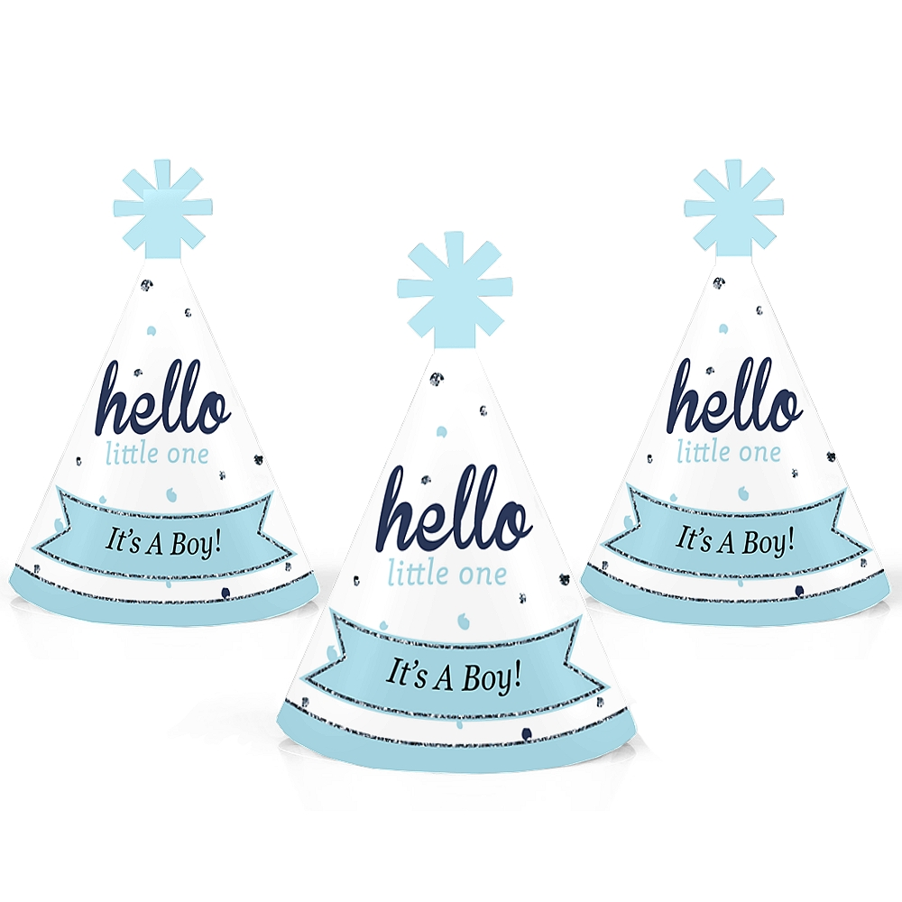 Hello Little One - Blue and Silver - Mini Cone Boy Baby Shower Party Hats - Small Little Party Hats - Set of 10