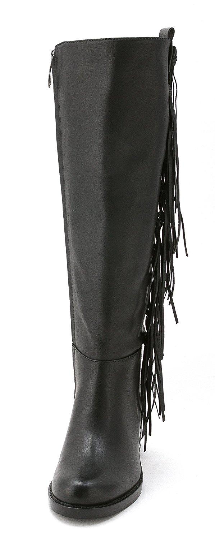 Carolinna Espinosa Womens DARELL Leather Round Toe Knee, BLACK LEATHER, Size 5.5