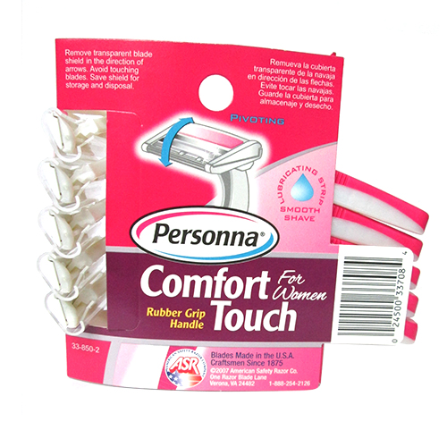 Personna Comfort Touch Twin Blade Disposable Razors With Rubber Grip Handle For Women - 5 Ea