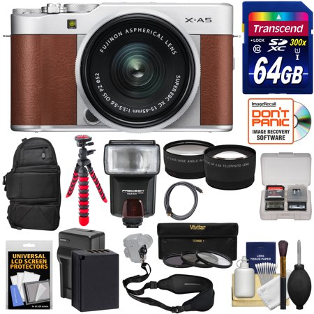 Fujifilm X-A5 Wi-Fi Digital Camera & 15-45mm XC Lens (Brown) with 64GB Card + Battery & Charger + Backpack + Tripod + Flash + Tele/Wide Lens Kit Brown Silver Flash Lens