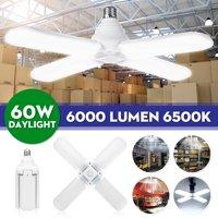 60W LED Garage Lights Foldable Bulb 4 Adjustable Fan Blades Deformable Garage Ceiling Lights Panels Shop Lights LED Light Bulb for Garage Basement Workshop