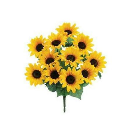 2PK Artificial Sunflower Bush in Yellow - 19