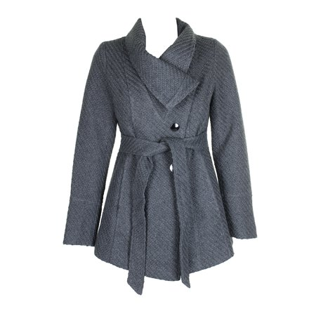 Inc International Concepts Charcoal Asymmetrical Belted Knit Coat XS