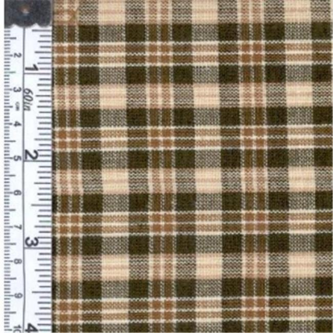 Textile Creations 1336 Rustic Woven Fabric, Small Plaid Natural Brown, 15 yd.