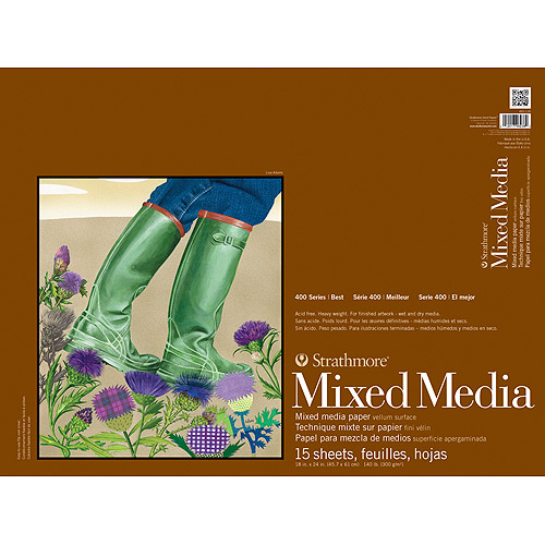 Strathmore Mixed Media Paper Pad, 400 Series, 18in x 24in, 15 Sheets