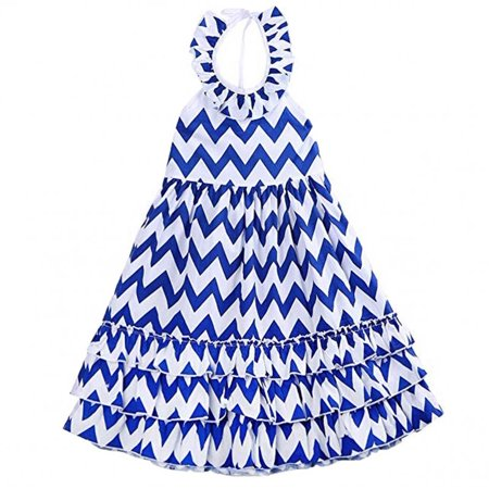 Infant Kids Girls Sleeveless Backless Wave Stripe Maxi Long Sundress Boho Dress