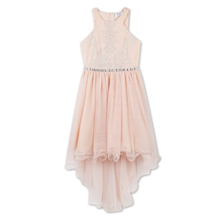 Embellished Halter Neck Hi-Low Ruffle Hem Dress (Little Girls & Big Girls)