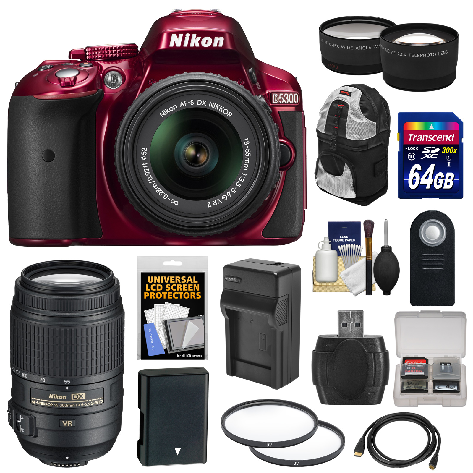 Nikon D5300 Digital SLR Camera & 18-55mm VR II Lens (Red) with 55-300mm VR Lens + 64GB Card + Battery & Charger + Backpack + Tele/Wide Lens Kit
